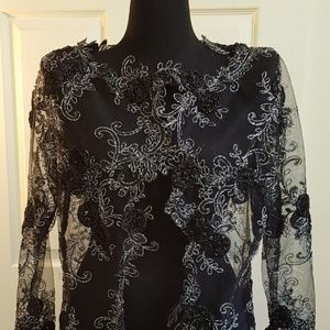 Black Embroidered Floral Tulle Lace Midi Jacket